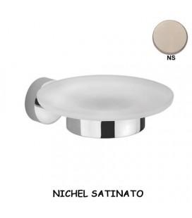 PORTA SAPONE VETRO/NICHEL SATINATO