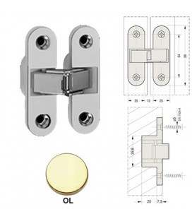 INVISIBLE HINGE 89x25 BRASS-plated