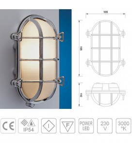 TARTARUGA LED OVALE mm195 CROMO