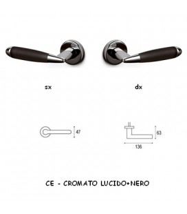 1/2 MANIGLIA ASTER CROMATO+NERO